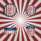 Realistic vector 4th of July Banners Set. On red and white striped Background vector illustration