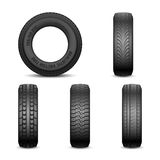 Realistic vector tires with different tread marks Royalty Free Stock Photography