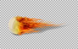 Realistic vector volleyball in fire on transparent background. Realistic vector volleyball in fire on transparent background and illustration Royalty Free Stock Photography