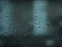Realistic vector water droplets on dark background. Bubbles on window glass. Stock Images