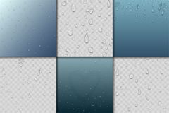 Realistic vector water drops liquid transparent raindrop splash background illustration Stock Image