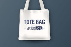 Realistic vector white empty textile tote bag. Closeup on blue background  Royalty Free Stock Image