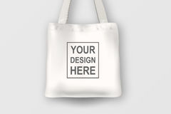 Realistic vector white empty textile tote bag. Closeup  on white background. Design template for branding Stock Images