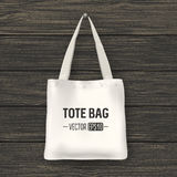 Realistic vector white textile tote bag. Closeup on wood background. Design template for branding, mockup. EPS10. Stock Photography
