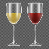 Realistic vector wineglasses with red and white wine. On checkered background. Wine in glass vector illustration Royalty Free Stock Image