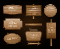 Realistic vector wood sign and banner Royalty Free Stock Image