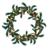 Realistic vector wreath with gold ribbon and red berries Stock Photo
