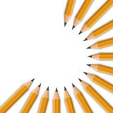 Realistic Vector Yellow Graphite Office Pencil Circle Isolated o Royalty Free Stock Photography