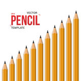 Realistic Vector Yellow Graphite Office Pencil Isolated on White Stock Images