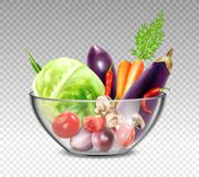Realistic Vegetables In Glass Bowl Stock Photos