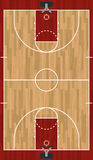 Realistic Vertical Basketball Court Illustration. A realistic hardwood textured basketball court illustration. EPS 10. File contains transparencies Royalty Free Stock Photography