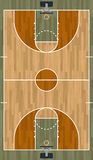 Realistic Vertical Basketball Court Illustration. A realistic hardwood textured basketball court illustration. EPS 10. File contains transparencies Royalty Free Stock Photo