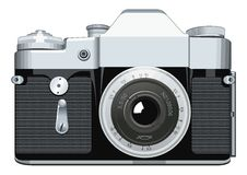 Realistic vintage lens camera Vector Illustration on white background. Realistic retro reflex camera. Vector Illustration on white background Royalty Free Stock Photography