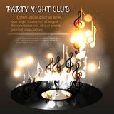 Realistic vinyl record, against departing from her notes, bokeh and smoke. Discos, parties and club poster, dance or music poster Stock Photos