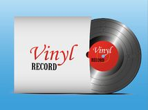 A realistic vinyl record with a cover. Disco. Retro design. Foreground. Music. Live music. royalty free illustration