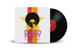 Realistic Vinyl Record with Cover Mockup. Disco party. Retro design. Front view. Royalty Free Stock Images