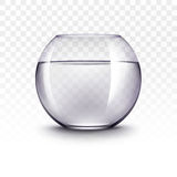 Realistic Violet Transparent Shiny Glass Fishbowl Aquarium with Water without Fish  on White Background. Vector Realistic Violet Transparent Shiny Glass Fishbowl Royalty Free Stock Photo