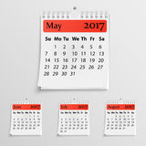 Realistic wall calendar with spring. For 2017 Royalty Free Stock Photos