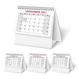 Realistic wall calendar with spring. Realistic desktop calendar with spring for 2017. Vector illestations Royalty Free Stock Photo