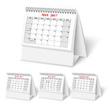 Realistic wall calendar with spring. Realistic desktop calendar with spring for 2017. Vector illestations Stock Photos