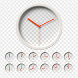 Realistic Wall Clock. S set. Transparent face. One clock for every hour. Red hands. Ready to apply. Graphic element for documents, templates, posters, flyers Stock Photos