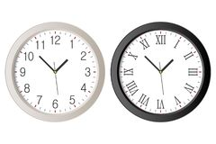 Realistic wall clock set with black Roman numerals and white clock-face dial with Arabic numerals. Vector Stock Photography