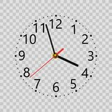 Realistic wall clock on transparent background. Vector. Royalty Free Stock Image