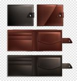 Realistic Wallet Transparent Icon Set. Three stylish realistic wallet transparent icon set opened and closed empty and brown vector illustration Stock Images