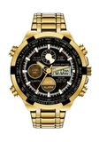 Realistic watch chronograph gold black face on white background luxury vector Stock Image