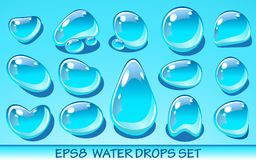 Realistic water drops set. Useful for aqua icons. No transparent objects. Realistic water drops set. Useful for aqua icons. Vector EPS8 illustration. No Stock Photo