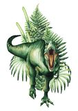 Realistic watercolor dinosaur. Watercolor Tirannosaurus Rex decorated with green prehistoric plants. Hand painted dinosaur isolated on white background. Predator Royalty Free Stock Images
