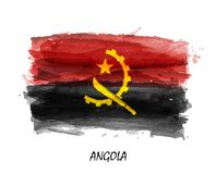 Realistic watercolor painting flag of Angola . Vector . Not auto trace . Use watercolour brush.  royalty free illustration