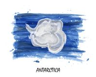 Realistic watercolor painting flag of Antarctica . Vector.  vector illustration