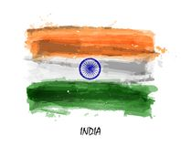 Realistic watercolor painting flag of India . Vector.  Royalty Free Stock Photo