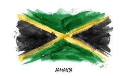 Realistic watercolor painting flag of Jamaica . Vector . Not auto trace . Use watercolour brush.  vector illustration