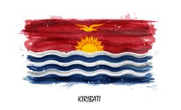 Realistic watercolor painting flag of Kiribati . Vector . Not auto trace . Use watercolour brush.  vector illustration