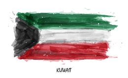 Realistic watercolor painting flag of Kuwait . Vector . Not auto trace . Use watercolour brush.  vector illustration