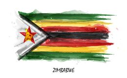 Realistic watercolor painting flag of Zimbabwe . Vector . Not auto trace . Use watercolour brush.  vector illustration