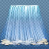 Realistic waterfall with blue clean water and stones, water rapids vector illustration Stock Images