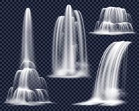 Realistic Waterfalls On Transparent Background Set. Set of realistic waterfalls including cascading streams of various shape on transparent background  vector Royalty Free Stock Images