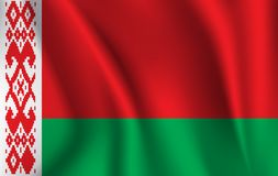 Realistic waving flag of the Belarus. Fabric textured flowing flag,vector EPS10. Fabric textured flowing flag,vector EPS10 stock illustration