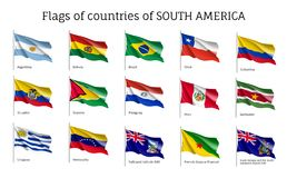Realistic waving flags of South America continent. Argentina, Bolivia, Brazil, Chile, Colombia, Peru, Uruguay 3d flag on flagpole. Patriotic symbols vector royalty free illustration