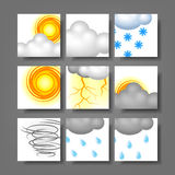Realistic Weather Icon set with clipping mask Stock Photos