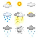 Realistic Weather Icon set Stock Photos
