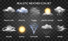 Realistic weather icons on transparent stock illustration
