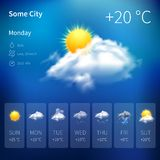 Realistic weather widget Royalty Free Stock Photography