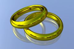 Realistic Wedding Rings - Gold Stock Photography