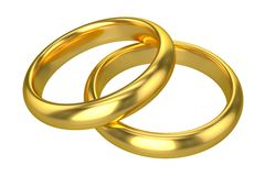 Realistic Wedding Rings - Gold. (Isolated on White or Transparent Background Stock Images