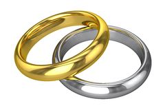 Realistic Wedding Rings - Yellow And White Gold Stock Photography