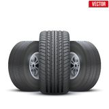 Realistic wheels and tire concept. Vector Stock Images